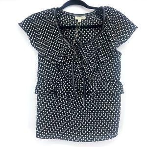 NWT Max Studio polka dot ruffle blouse tee xs